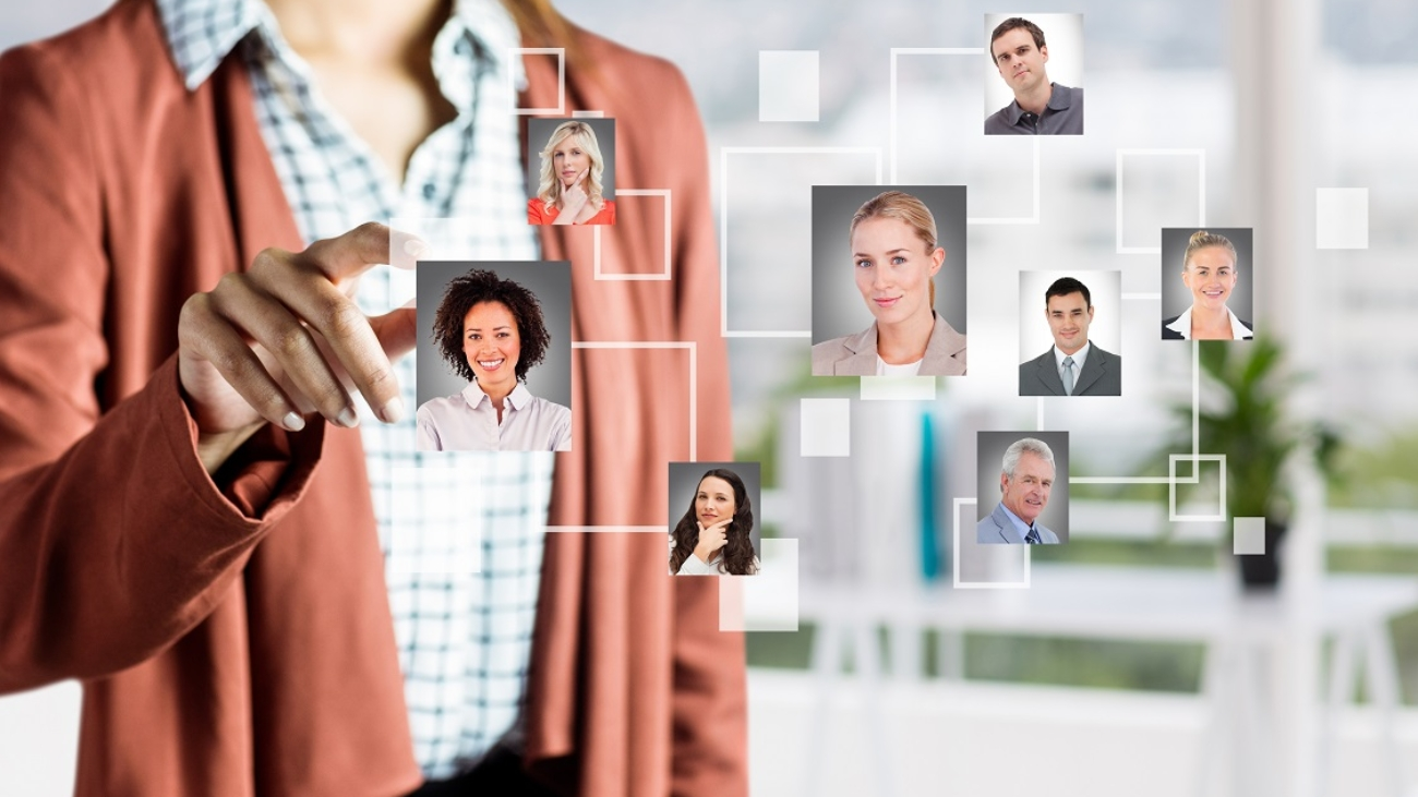 woman-selecting-pictures-of-people